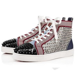 $enCountryForm.capitalKeyWord Australia - New Arrive Men Sneakers Red Bottom Shoes Brand Designer High  Low Top Stripe paint Leather With Spikes Orlato Men's Flat Walking Shoes