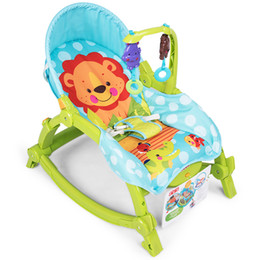 Newborn baby rocking chair, to appease baby sleep can sit can lie cradle, fold rocking chair with music on Sale