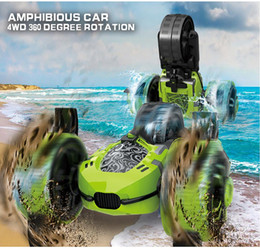 toy amphibious car UK - 2.4G Remote Control Amphibious Tricycle Stunt Car Toy, 360° Forward Flip, Water& Land Dual Models, for Xmas Kid Birthday Boy Gift, 2-1