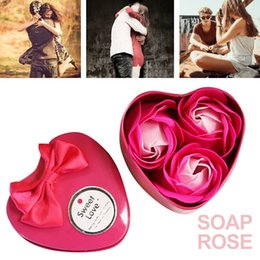 Heart sHaped rose soap online shopping - Immortal Flower Rose Soap Flower Heart Shaped Iron Box Soap Celebration Home Decoration Mother S Day