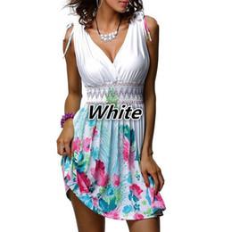 46d18d5ec03 5xl Plus Size Women s Bohemian Beach Dresses Sexy Deep V Neck Sleeveless  Dress Sweet Floral Print Slim White Summer Dress Y19051001