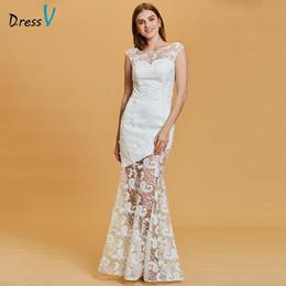 $enCountryForm.capitalKeyWord Australia - Dressv white long evening dress cheap scoop neck lace cap sleeves wedding party formal dress mermaid evening dresses