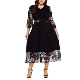 Xl Size Sale Dress NZ - Hot Sale Casual 2019 Fashion Women Midi Dresses O Neck Wrap Chiffon Floral Long Sleeve Dresses Vestido Plus Size XL-5XL