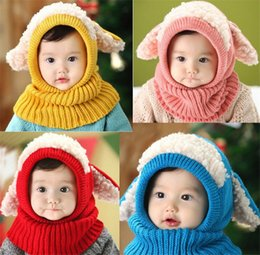 toddler girl crochet hat sets NZ - New Little Dog Sheep Girls Kid Twill Hats Baby Winter Crochet Knitted Hat Scarf Set Toddler Warm Balaclava Cap Outdoor Sports Scarf Set