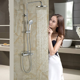 $enCountryForm.capitalKeyWord Australia - Chrome Good Quality Bath Faucet Dual Handle Thermostatic Shower Set Rainfall Shower Head Shower Mixer Kit with Handshower