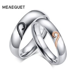 Cheap Men Jewelry Sets Australia - Cheap Wedding Bands Meaeguet Heart Couple Ring Key To Love for Women Men Stainless Steel Promise Jewelry