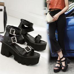 $enCountryForm.capitalKeyWord Australia - Fashion Women Sandals High Thick Heel Open Toe Buckle Strap Platform Shoes Female Black Simple Design Unique Shoes Y19070503