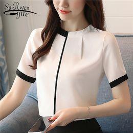 $enCountryForm.capitalKeyWord Australia - 2018 Summer Chiffon Women Blouse Shirt Short Sleeve Elegant Ladies Office Women Tops Casual Slim White Women Clothing 0215 40 Y19062501