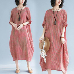 Loose Long Linen dress online shopping - 2019 summer new women s fat sister literary loose large size striped short sleeved long section cotton and linen dress