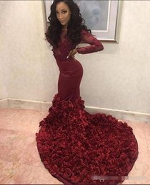 white red roses prom Australia - 2019 Sexy Burgundy Mermaid Prom Dresses Sheer Neck Long Sleeves Lace Appliques Beaded Rose Flowers Evening Dress Party Pageant Formal Gowns