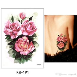 Cover sCar tattoos online shopping - Flower arm tattoo stickers waterproof female color butterfly tattoo stickers large rose covered scar plaster Bikini Decoration