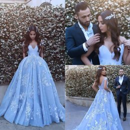 Ice Blue Evening Dresses UK - 2018 New Ice Blue Off-Shoulder Sweetheart A- 22716b0253b3