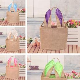 $enCountryForm.capitalKeyWord Australia - Hot sale Easter jute canvas gift Handbags cute rabbit ears Basket portable baskets Party Favor T7I5021