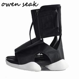 Vente en gros Owen Seak Hommes Sandales Noir Rome Chaussures Gladiator Sandales High-Top Owen Chaussures Mules Sabots Pantoufles Diapositives Été Hommes # 206738
