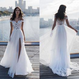 $enCountryForm.capitalKeyWord Australia - Beach Wedding Dress Lace Appliques Chiffon Summer Bride Dress illusion High Side Slit Wedding Gowns Cap Short Sleeve Robe De Mariee