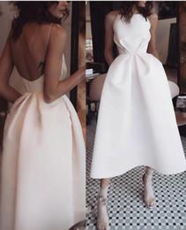 Wholesale Simple Satin Tea Length Cocktail Party Dresses 2021 With Pockets Square unique Backless Draped Short Prom Evening Gowns Vestido De Novia