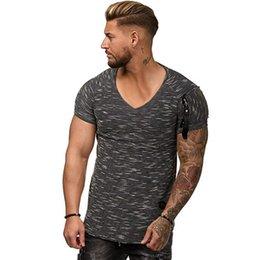 Designer Fitness Clothes Australia - Mens V-neck Zipper Designer Tshirts 2019 Clothes Summer Sleeved Fitness Casual Tops