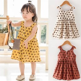Chinese Wholesale Red Dresses Australia - Summer Designer INS Stylish Little Girls Polka Dot Dresses 4 colors A-line Cotton Sleeveless Button Girls Dresses 0-6T