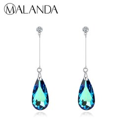 $enCountryForm.capitalKeyWord UK - Malanda Original Crystal From Swarovski Water Drop For Women Fashion Long Dangle Earrings Wedding Jewelry Gift J190702