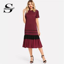 db3b60a4d Sheinside Borgoña Colorblock rayado dobladillo vestido del verano de las  mujeres de manga corta vestidos casuales 2019 cintura baja vestido largo