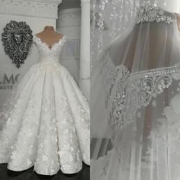 Real pRincesses dResses online shopping - 2019 Arabic Dubai Vintage Wedding Dresses Sheer D Floral Appliques Beads Plus Size Wedding Dress Princess Ball Gown Vestido De Novia