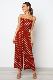 Elegant Jumpsuits Women Australia - Dot Print Back Lace Up Bandage Jumpsuit Women Casual Spaghetti Strap Backless Women Jumpsuit Elegant Wide Leg Pants Overalls