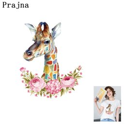 $enCountryForm.capitalKeyWord Australia - Prajna Flower Giraffe Cheap Iron On Patches For Clothing Embroidered Stickers DIY Parches For Kids Decorative Acccessories