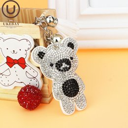 blue bear jewelry UK - UKEBAY Cute Bear Key Keychain for Women Fashion Kwaii Jewelry Car Key Ring Brown Pink Silver Red 13 Color Handbag Keychains Handmade