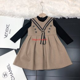 Wholesale preppy evening dresses for sale – plus size Girl dress children s designer clothing navy collar fake bow tie design dress set girl bottoming shirt skirt casual evening dress