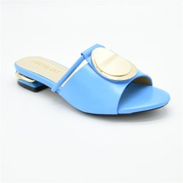 crystal buttons for wedding dresses UK - 2020 Blue Color High Quality Italian Party Crystal Pointed Toe Slipper Sweet Pumps Women Shoes For Wedding
