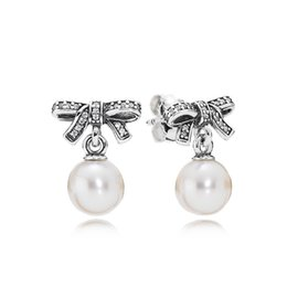 Pendant Pearl Pandora Australia - High Quality Real 925 Silver White Pearl Pendant Earring Fit Pandora Jewelry Women Women's Stud Earring with Gift Box