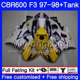 Honda Cbr F3 Fairings Australia - Body +Tank For HONDA CBR 600 FS F3 CBR600RR CBR 600F3 97 98 290HM.12 CBR600 F3 97 98 CBR600FS Yellow white new CBR600F3 1997 1998 Fairings