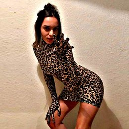 leopard print bodycon dresses Canada - Hot long sleeve with gloves high neck Leopard print bodycon dress women cool Christmas party sexy mini dress