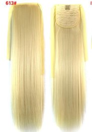 "blonde drawstring ponytails NZ - 111 Synthetic Ponytail Long Straight Hair 16"" 22"" Clip Ponytail Hair Extension Blonde Brown Ombre Hair Tail With Drawstring"