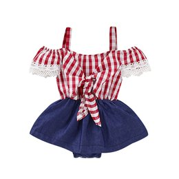 princess toddler romper 2019 - Toddler Baby Girl Princess Plaids Romper Bib Pants Playusit Jumpsuit Overalls Children Kids Off Shoulder Lace Rompers Su