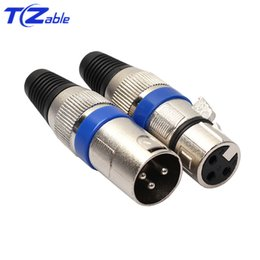 $enCountryForm.capitalKeyWord Australia - XLR Blue Black Round Canon Male Pulg Microphone Connector 3 Core Canon Balance Card Microphone Amplifier Head Mixer Audio Welding Head