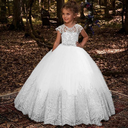 c0db93cede6 Lovey Lace Princess Flower Girl Dresses 2019 Ball Gown First Communion  Dresses For Girls Sleeveless Tulle Toddler Pageant Dresses BC1831