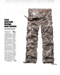 Korean green pants online shopping - Camouflage Korean Style Cargo Slacks Big Pocket Decoration Casual Mens Pants Designer Hip Pop Homme Pantalon