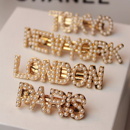 Girls Pearl Hair Comb Australia - Fashion Pearls Letter Hair Clips for Women Girls Barrettes New York Tokyo Paris London Hair Combs Pins Sticks Jewelry Gift Accessories