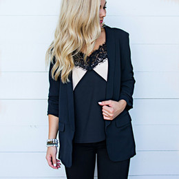 women blazers sale 2019 - 2019 Solid None Button Business Notched Blazer For Women Open Stitch Blazers Office Lady Autumn Slim Suit Coat Hot Sale