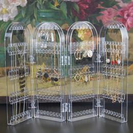 $enCountryForm.capitalKeyWord Australia - Fashion Multi-functional Plastic Folding Screen Jewelry Storage Rack Earrings Necklace Jewelry Display Stand Organizer for Women