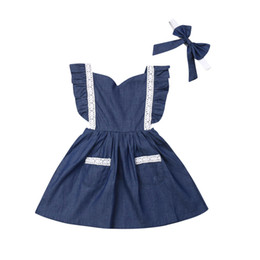$enCountryForm.capitalKeyWord Australia - Brand Baby Kids Casual Girls Dresses Denim Lace Fly Sleeve Pockets Party Wedding Bridesmaid Gown Strap Tutu Long Dresses
