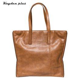 Handmade Patchwork Bags Australia - Original Handmade Genuine Leather Personality Large-capacity Single Shoulder Female Simple First Layer Leather Art Bag Bag