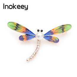 0bb34b2a1 Inokeey Green Enamel Dragonfly Sparkling Rhinestone Brooch Pins For Women  Multicolor Wings 2019 New Fashion Jewelry Gift