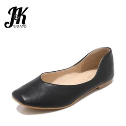 1c7cad34415 JK Fashion Casual Women Flats Square Toe Footwear Pu Ladies Shoes Flat  Rubber Sole Shoes Woman 2019 Spring New Big Size 30-48