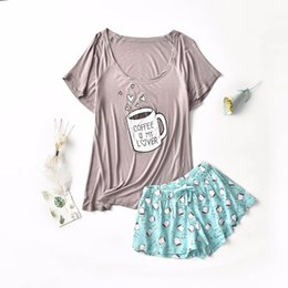 $enCountryForm.capitalKeyWord Australia - Women's pajamas sets with sweet coffee cups hearts printed grey pink color causal pajama sets fashion softy pajamas for ladies