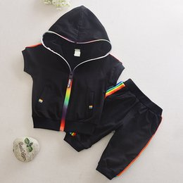 sportswear for girls UK - Kids Boy Girl Clothes Sportswear Summer Fashion Tracksuit Short Sleeve Coat+Pants Colorful Clothing For Girls Children Set