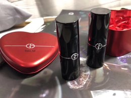 Wholesale Lipstick Brands Australia - Famous brand Makeup Love 2pcs lipstick kit with red metal box 2 Matte color Lip maquillage
