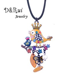 Wholesale D Rui Jewelry Yellow Enamel Bird with Crown Pendants Necklaces Cute Cartoon Butterfly Rope Chain Statement Necklace for Women