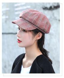 $enCountryForm.capitalKeyWord Australia - Maxi DHL Shipping High Quality Women's British Style Checked Hat Visor Beret Newsboy Cap for Ladies Cotton Adjustable joker fashion cap